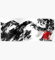 Japanese snow mountain scene Poster