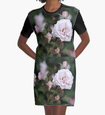 Pink Rose Blooms Graphic T-Shirt Dress