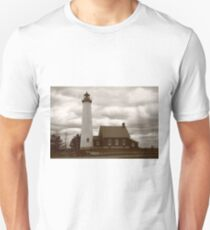 Lighthouse - Tawas Point, Michigan in Sepia T-Shirt