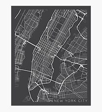 New York City, Map - Gray Photographic Print