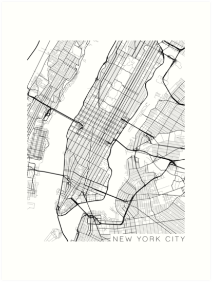 New York Map Black And White.New York City Map Black And White Art Prints By Mainstreetmaps