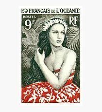 1955 French Polynesia Girl of Bora Bora Postage Stamp  Photographic Print
