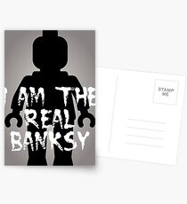 "Black Minifig with ""I am the Real Banksy"" Postcards"