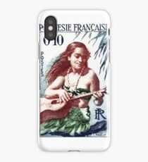 1958 French Polynesia Guitar Girl 10fr Postage Stamp iPhone Case/Skin