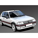 Poster artwork - Peugeot 205 GTI by RJWautographics