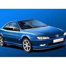 Poster artwork - Peugeot 406 Coupe by RJWautographics