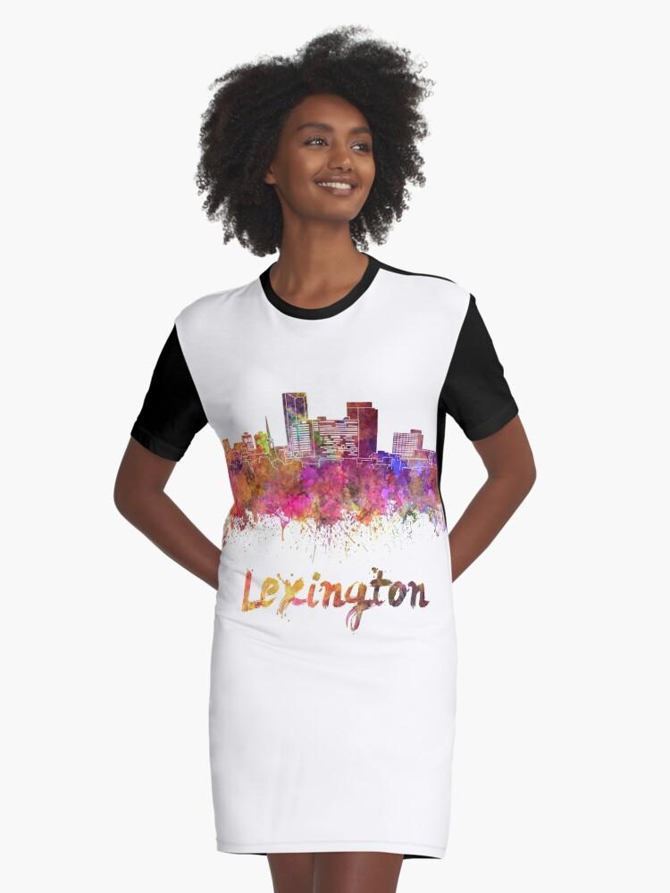 Lexington skyline in watercolor Graphic T-Shirt Dress Front