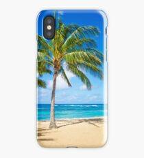 Palm trees on the sandy beach in Hawaii iPhone Case/Skin