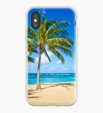 Palm trees on the sandy beach in Hawaii iPhone Case