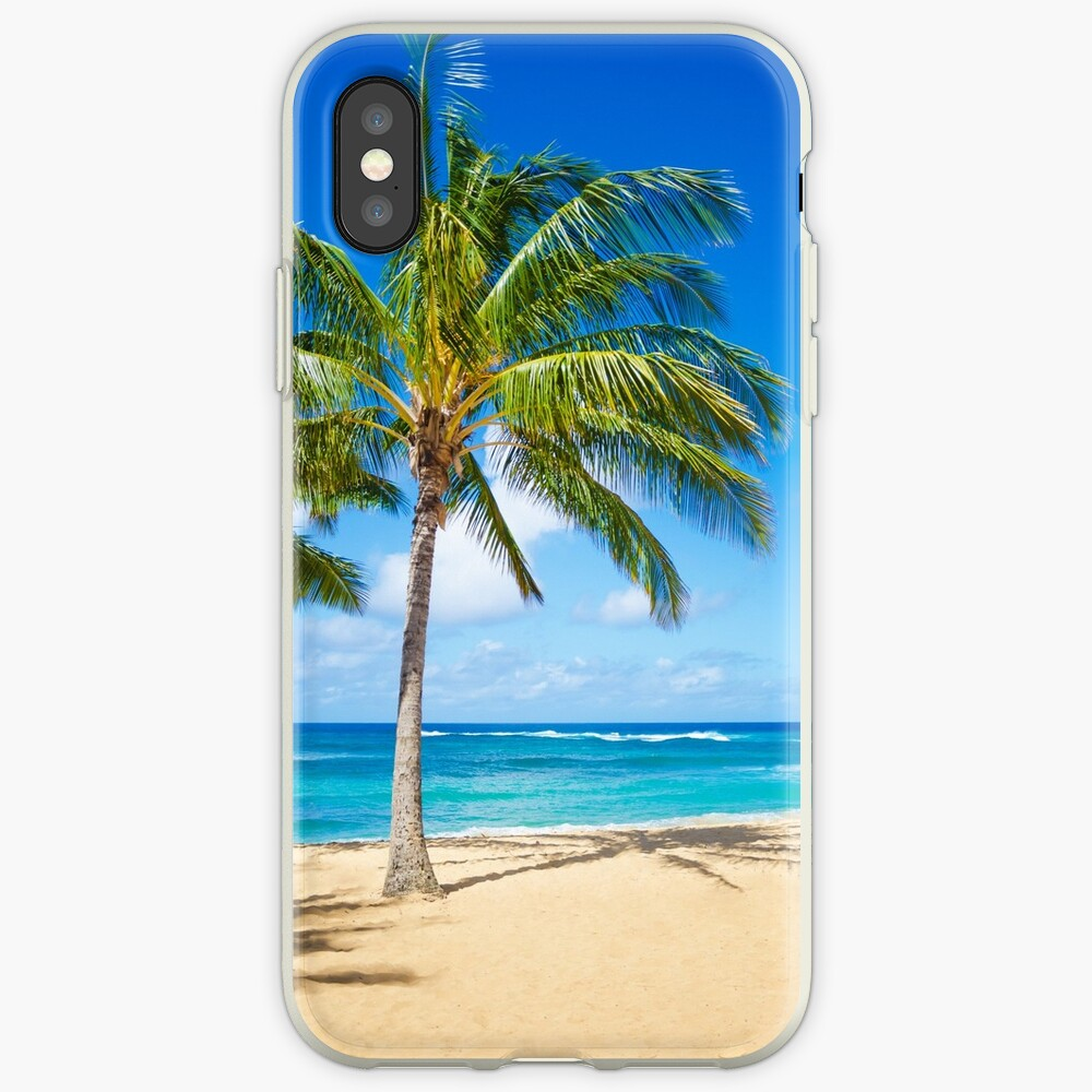 Palm trees on the sandy beach in Hawaii iPhone-Hüllen & Cover