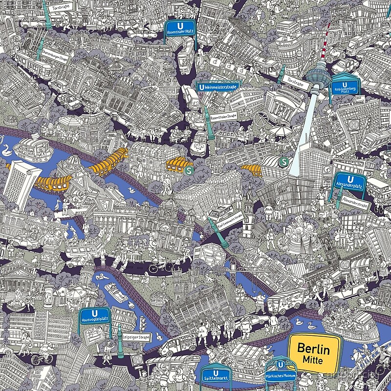 Illustrated Map Of BerlinMitte Blue Scarves By Cartooncity - Berlin mitte map
