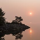 Misty Sunrise on the Lake - Soft Pink Fog and Sunshine by Georgia Mizuleva