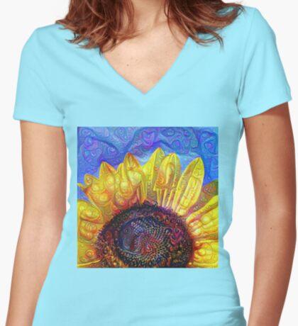 Solar eyelashes Women's Fitted V-Neck T-Shirt