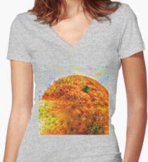#DeepDreamed Frozen Orange Women's Fitted V-Neck T-Shirt