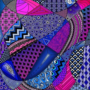 Tangle Doodle in Pink, Purple and Blue by ArtformDesigns
