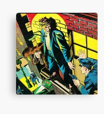 Criminal on a ledge surrounded by Cops Canvas Print
