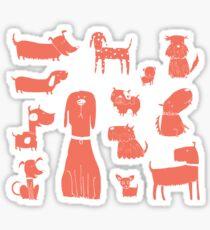 dogs - coral Sticker