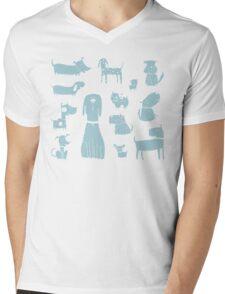 dogs - pale blue Mens V-Neck T-Shirt