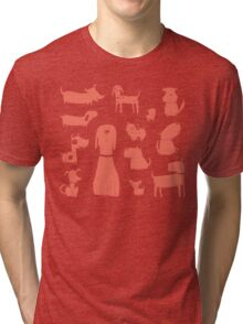 dogs - coral Tri-blend T-Shirt