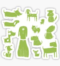 dogs - green Sticker
