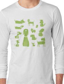 dogs - green Long Sleeve T-Shirt