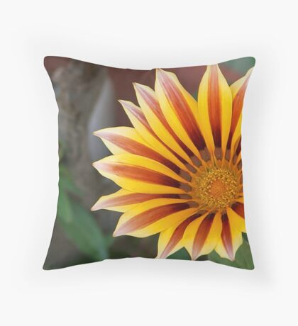 Close Up Tiger Gazania in Red, Gold and Green Throw Pillow