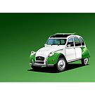 Poster artwork - Citroen 2CV Green and White Dolly by RJWautographics