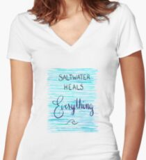 Saltwater Heals Everything Wave Symbol Women's Fitted V-Neck T-Shirt