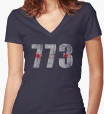 Retro Chicago 773 Flag Women's Fitted V-Neck T-Shirt