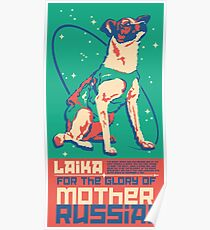 Laika Space Dog Illustration Vektor russischen Propaganda Pup Retro Vintage Poster