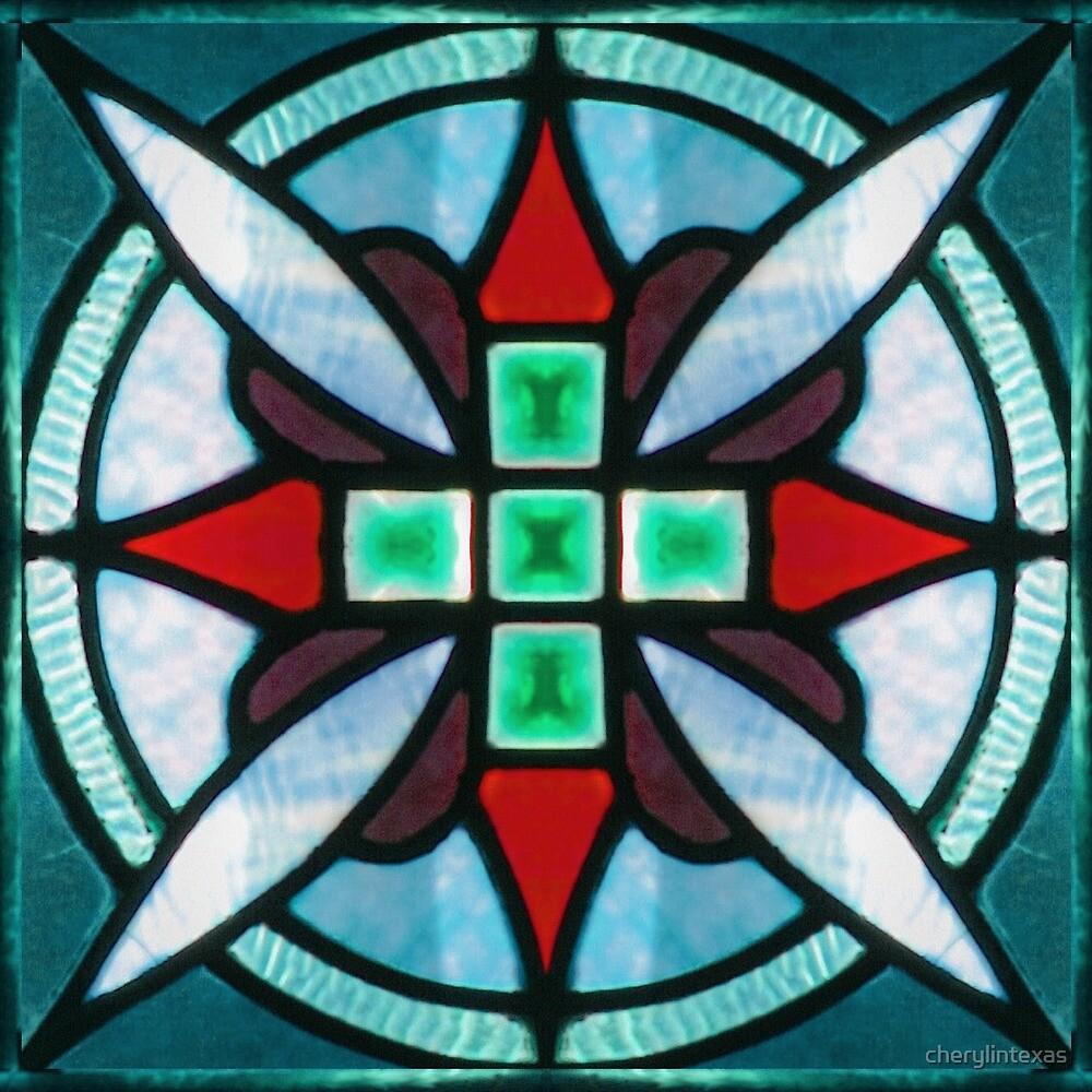 Teal and Red Stained Glass by cherylintexas