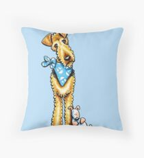 Airedale Terrier & Puppy Throw Pillow