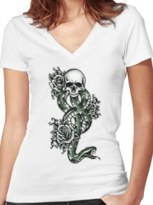 Death ink Women's Fitted V-Neck T-Shirt