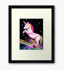 Fluffy Pink Unicorn Dancing on Rainbows Framed Print