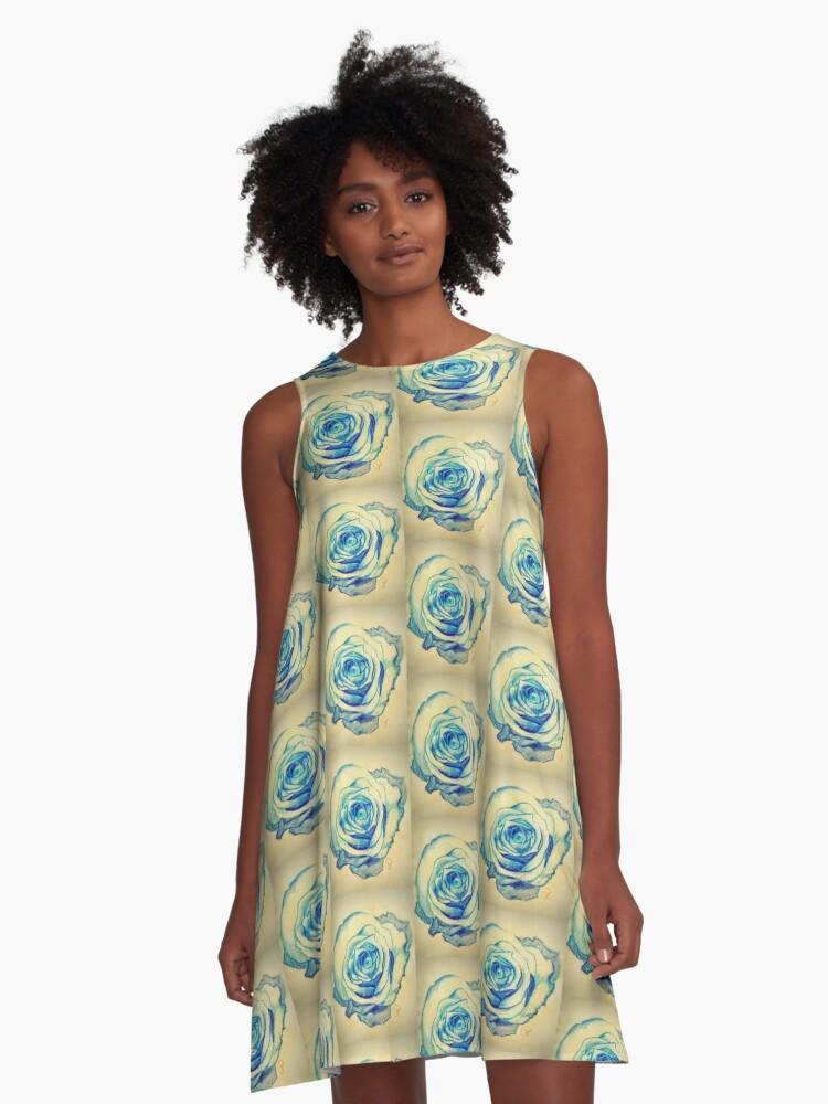 Portrait of the Blue Queen A-Line Dress Front