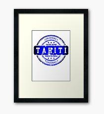 TAHITI Stamp Blue Paradise Framed Print