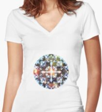 Psychedelicious Heart  Women's Fitted V-Neck T-Shirt