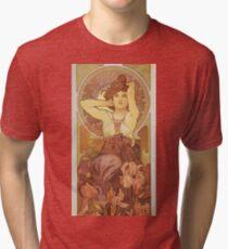 Alphonse Mucha - Amethyst Tri-blend T-Shirt