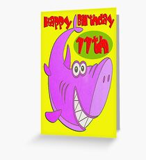 Pink Shark Eleventh Birthday Greeting Card