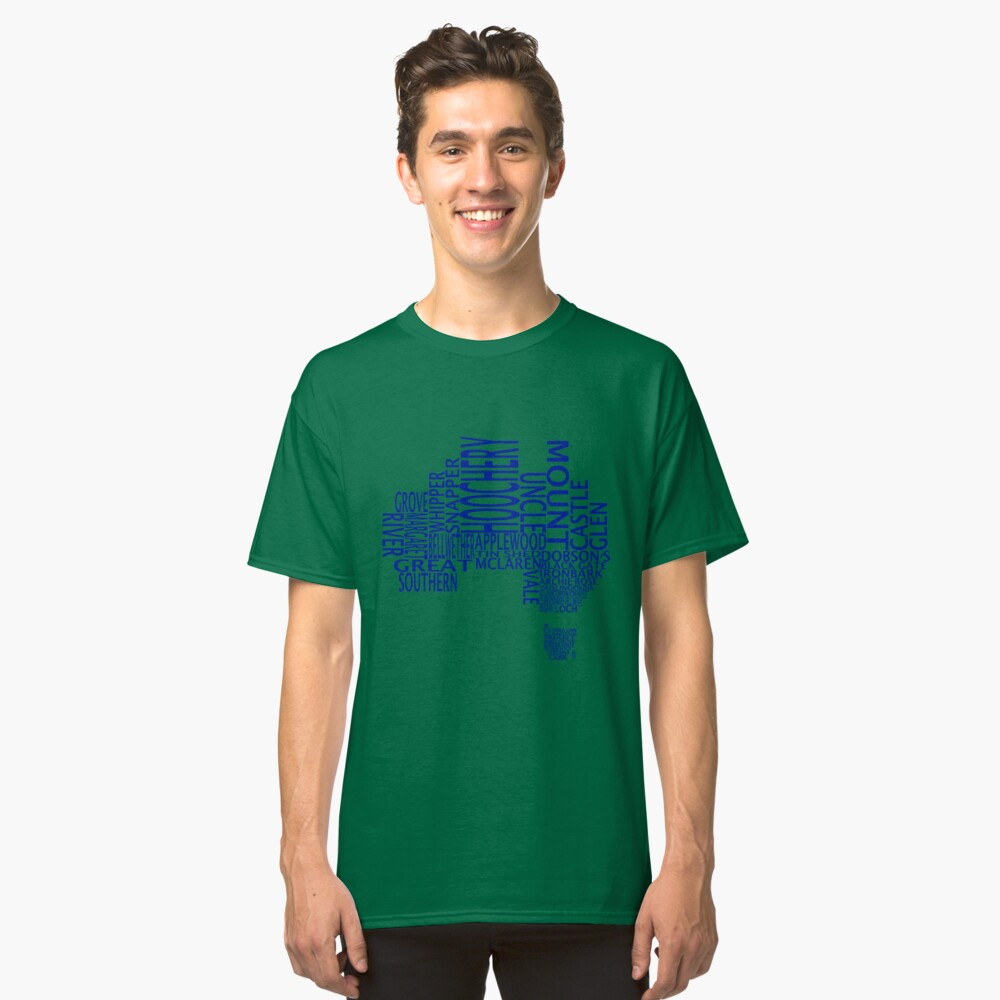 Australian Distilleries Map (Blue) Classic T-Shirt Front