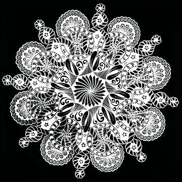 Black and White Mandala  by ezee123