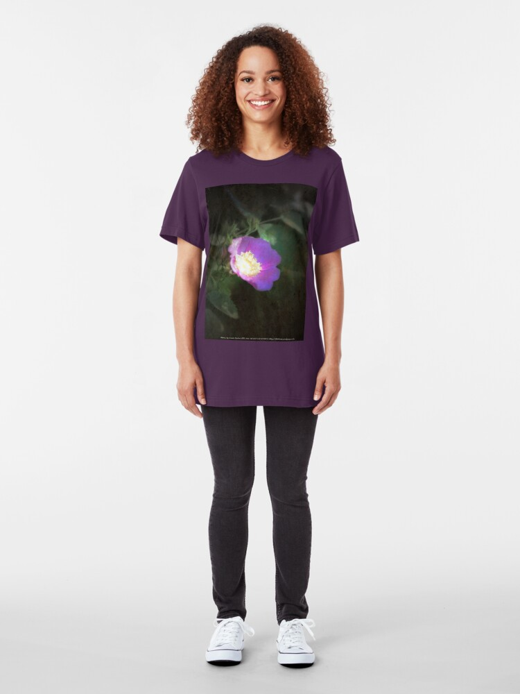 Alternate view of glowing old fashioned rose elegance Slim Fit T-Shirt