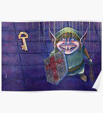Zelda Link in a Dungeon Nintendo Poster
