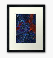 Boston city map dark Framed Print