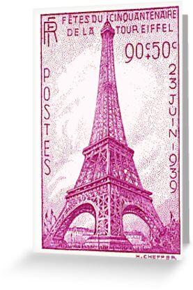 1939 france eiffel tower postage stamp greeting cards by 1939 france eiffel tower postage stamp by retrographics m4hsunfo