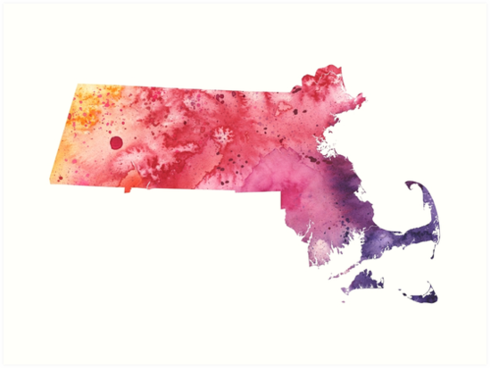 'Watercolor Map of Machusetts, USA in Orange, Red and Purple ' on postal address in usa, all inclusive vacations in usa, isis in usa, terrain in usa, history in usa, driving distances in usa, range in usa, mailbox in usa, features in usa, seattle location in usa, adult resorts in usa, stats in usa, design in usa, addresses in usa, service in usa, license plate in usa, calendar in usa, driving directions usa,