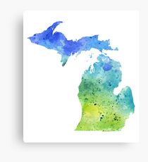 Watercolor Map of Michigan, USA in Blue and Green  Canvas Print
