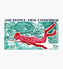 1972 Comoro Islands Spearfishing Postage Stamp Photographic Print