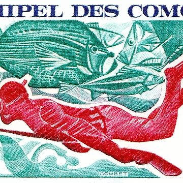 1972 Comoro Islands Spearfishing Postage Stamp by retrographics