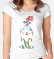 Perilous Pink Parasol - Stretching Portrait Women's Fitted Scoop T-Shirt